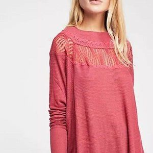 Free People Spring Valley Lace Inset Top Cochineal